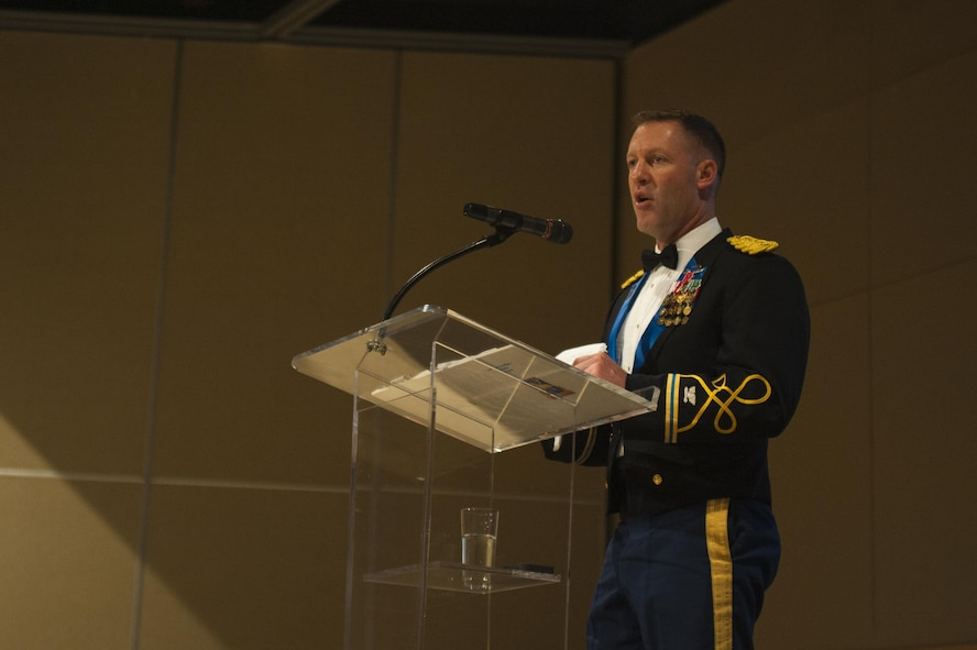 U.S. Army Col. Brian Lieb, gives remarks during the Army Ball at the McNease Convention Center San Angelo, Texas, June 16, 2017. Lieb was invited as the guest speaker and in his speech talked about his career and service. (U.S. Air Force photo by Senior Airman Scott Jackson/Released)