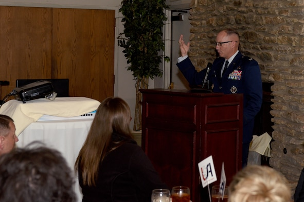 U.S. Col. Michael Downs, 17th Training Wing Commander, speaks during the Chamber of Commerce luncheon at the Bentwood Country Club in San Angelo, Texas, June 13, 2017. The Chamber held the luncheon congratulate the Leadership San Angelo graduates and to support businesses in the local area. Leadership San Angelo is designed to help develop future leaders for the city by providing intensive training in areas strategic to the city's well-being. (U.S. Air Force photo by Airman 1st Class Randall Moose/Released)