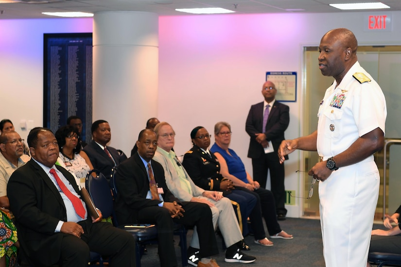 Navy Vice Adm. Kevin D. Scott, the Joint Staff's director of joint force development, speaks during the Defense Department's Juneteenth observance ceremony in the Pentagon's Hall of Heroes, June 19, 2017. Army photo by Leroy Council