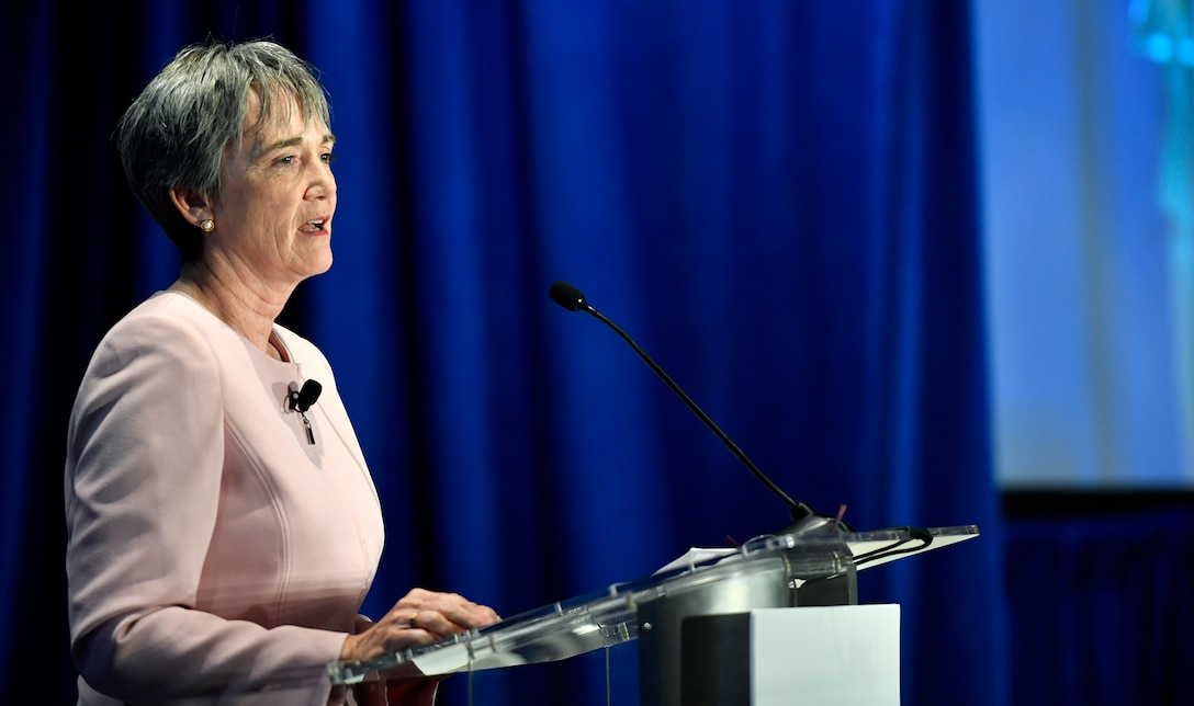 Secretary of the Air Force Heather Wilson speaks about the important role communities play in supporting the Air Fore mission at the 2017 Defense Communities National Summit, Washington, D.C., June 19, 2017. (U.S. Air Force photo/Wayne A. Clark)