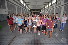 A group of Science, Technology, Engineering and Math summer camp students from Dickson, Tenn., toured the Cheatham Lock and Dam June 15, 2017.