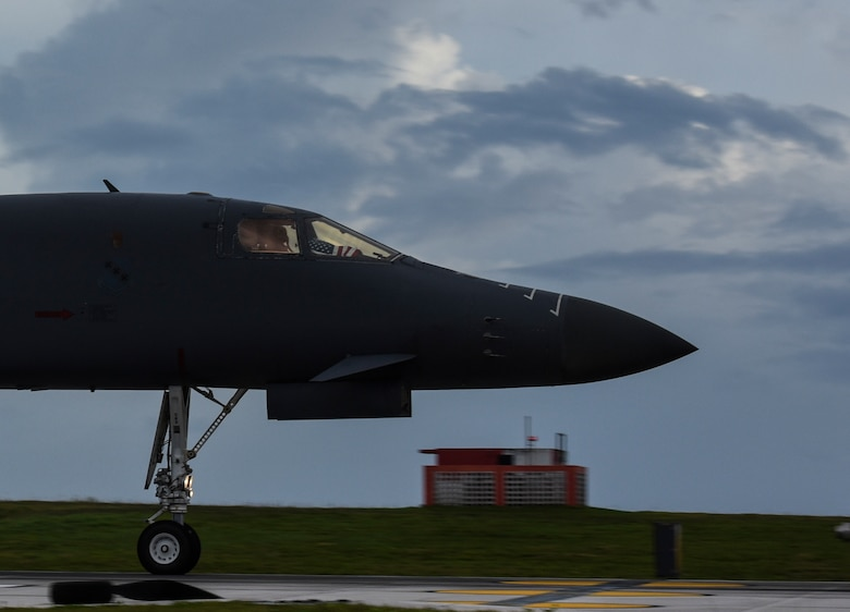A U.S. Air Force B-1B Lancer aircraft assigned to the 9th Expeditionary Bomb Squadron, deployed from Dyess Air Force Base, Texas, takes off from Andersen Air Force Base, Guam, for a 10-hour mission, flying in the vicinity of Kyushu, Japan, the East China Sea, and the Korean peninsula, June 20, 2017. The normal/routine employment of continuous bomber presence (CBP) missions in the U.S. Pacific Command's area of responsibility since March 2004 are in accordance with international law & are vital to the principles that are the foundation of the rules-based global operating system.  (U.S. Air Force photo/Tech. Sgt. Richard P. Ebensberger)