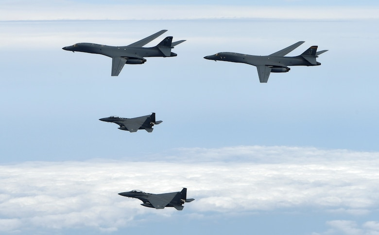 Two U.S. Air Force B-1B Lancers assigned to the 9th Expeditionary Bomb Squadron, deployed from Dyess Air Force Base, Texas, fly a 10-hour mission from Andersen Air Force Base, Guam, with two Republic of Korea air force F-15s in the vicinity of the Korean peninsula, June 20, 2017. These flights with the Republic of Korea (ROK) demonstrate solidarity between the ROK and U.S. to defend against provocative and destabilizing actions in the Pacific theater. (Courtesy photo)