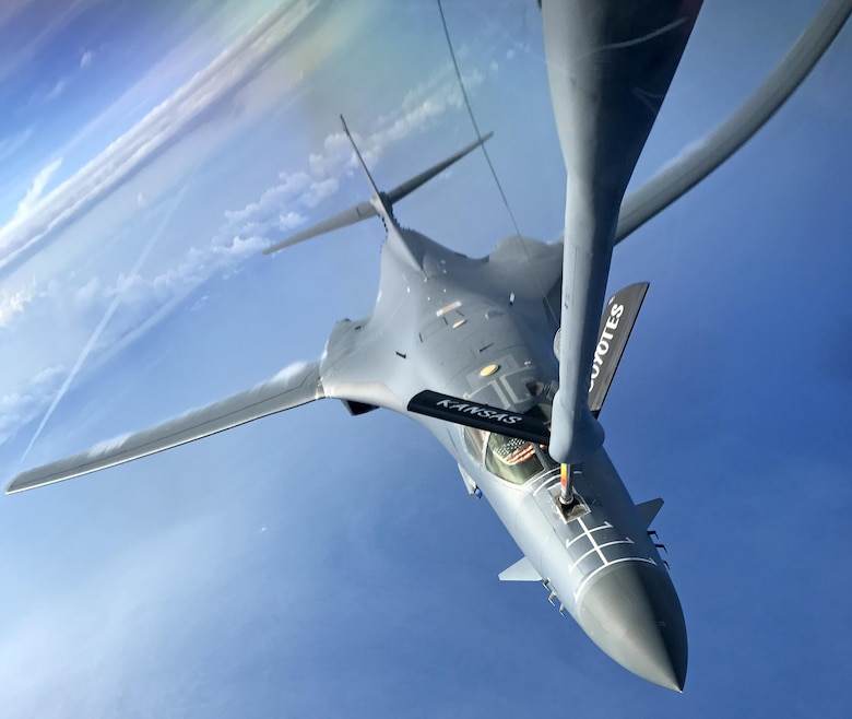 A U.S. Air Force B-1B Lancer assigned to the 9th Expeditionary Bomb Squadron, deployed from Dyess Air Force Base, Texas, flys a 10-hour mission from Andersen Air Force Base, Guam, in the vicinity of Kyushu, Japan, the East China Sea, and the Korean peninsula, operating with the Japan Air Self-Defense Force and Republic of Korea Air Force, June 20, 2017. These sequenced flights with Japan and the Republic of Korea demonstrate the solidarity and resolve we share with our allies, South Korea and Japan, to preserve peace and security in the Indo-Asia-Pacific. (U.S. Air Force photo/Airman 1st Class Gerald R. Willis)