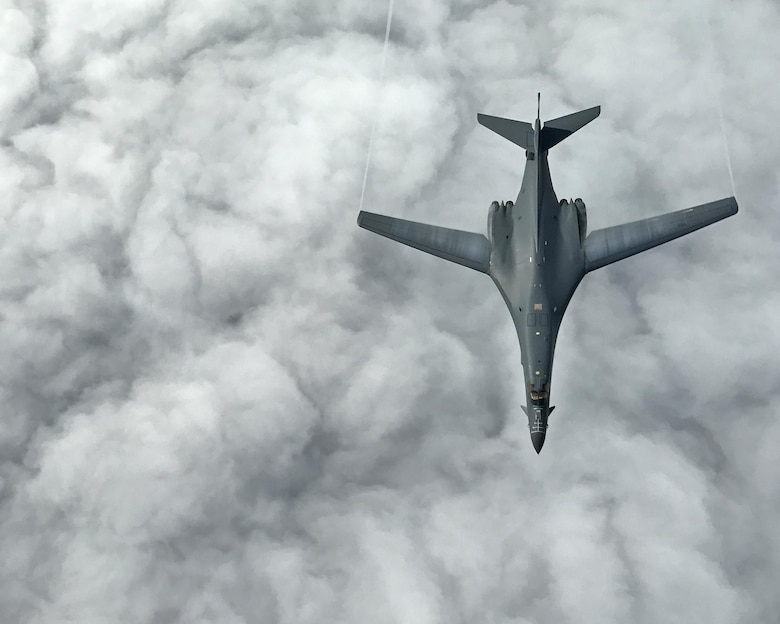 Two U.S. Air Force B-1B Lancers assigned to the 9th Expeditionary Bomb Squadron, deployed from Dyess Air Force Base, Texas, fly a 10-hour mission from Andersen Air Force Base, Guam, in the vicinity of Kyushu, Japan, the East China Sea, and the Korean peninsula, operating with the Japan Air Self-Defense Force and Republic of Korea Air Force, June 20, 2017. The B-1B's rotational bomber presence allows U.S. forces to integrate with aerial platforms from our allied nations and take advantage of opportunities to advance and strengthen the long-standing military-to-military relationships in the Indo-Asia-Pacific. (U.S. Air Force photo/Airman 1st Class Gerald R. Willis)