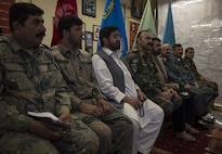 Afghan National Defense and Security Forces and Governor Hayatullah Hayat, fifth from left, the governor of Helmand Province, discuss the operations in Marjah and Nad Ali to local media outlets at Bost Airfield, Afghanistan, June 17, 2017. ANDSF now has the offensive capability to operate from their camps, allowing for fewer checkpoints and a more secure environment as affected local people reoccupy their homes. (U.S. Marine Corps photo by Sgt. Justin T. Updegraff)