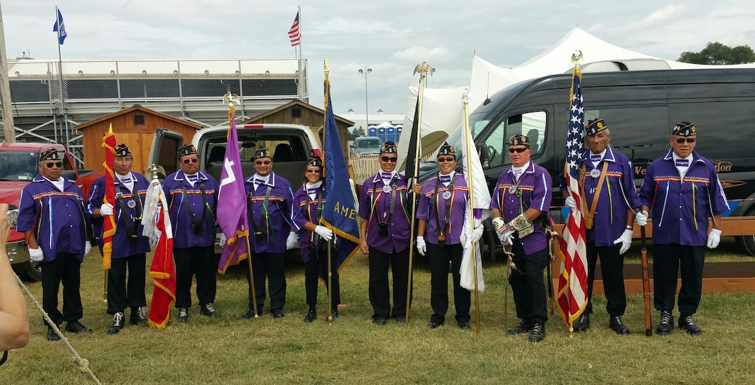 Master Sgt. Josette Wheeler, 914th Maintenance Squadron, (pictured 4th from the right) participates in a Veteran's Day Ceremony as a member of the Six Nations and the American Legion at the Erie County Fair, August, 2016, Hamburg, N.Y. (courtesy photo)