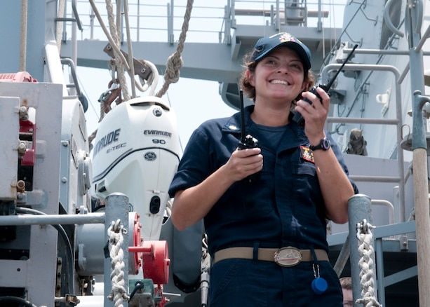 170514-N-XP344-068 ARABIAN GULF (May 14, 2017) Lt. Cmdr. Rebecca Wolf, USS Gladiator's (MCM 11) executive officer, maintains radio contact with crew onboard the Gladiator during shipboard operations in the Arabian Gulf. Gladiator, one of four MCM ships forward deployed to Bahrain and attached to U.S. Naval Forces Central Command's Task Force 52, is a mine sweeper/hunter-killer capable of finding, classifying and destroying mines preserve the freedom of navigation and the free flow of commerce in the U.S. 5th Fleet area of operations. (U.S. Navy photo by Mass Communication Specialist 2nd Class Victoria Kinney)