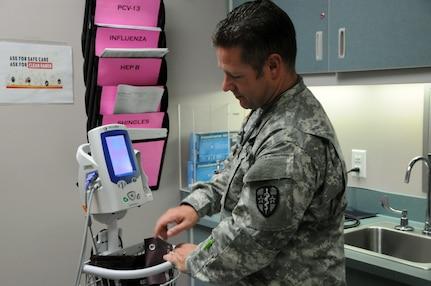 1st Lt. Jason Humes, an Army nurse assigned to Army Reserve Medical Command's 7240th Medical Support Unit out of Kirksville, Missouri, is one of approximately 25 U.S. Army Reserve Soldiers who are working in partnership with Pine Ridge Indian Health Service to provide medical care to the local tribal population. The Indian Health Service provides preventive, curative, and community health care for approximately 2.2 million American Indians and Alaska Natives in hospitals, clinics, and other settings throughout the United States.