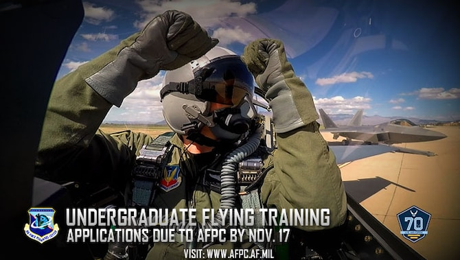 The Air Force Personnel Center is accepting applications for the 2018 Undergraduate Flying Training selection board through Nov. 17. The four flight categories available are pilot, remotely piloted aircraft pilot, combat systems officer and air battle manager. (U.S. Air Force courtesy photo)