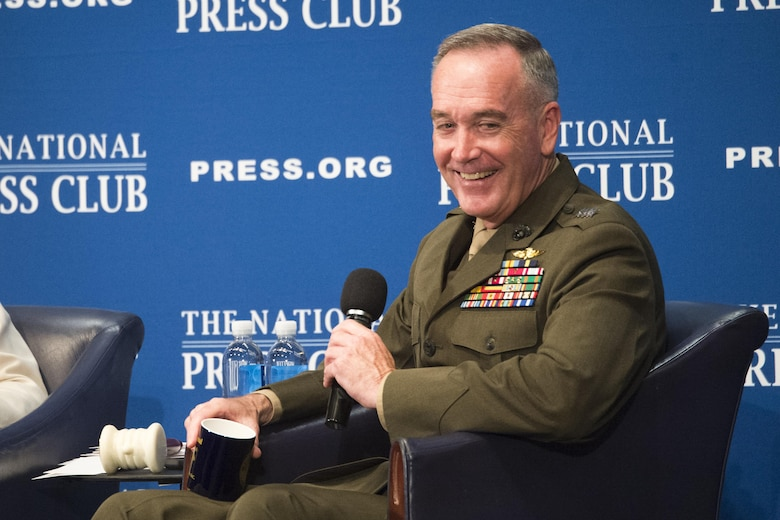 Marine Corps Gen. Joseph F. Dunford Jr., chairman of the Joint Chiefs of Staff, responds to audience questions from moderator Jeff Ballou, the 110th President of the National Press Club, during a luncheon at the NPC building in Washington, D.C., June 19, 2017. Dunford discussed important issues facing the U.S. military, such as the latest strategy for defeating the Islamic State and other terrorist groups, challenges from North Korea, cyber warfare, weapons acquisition, and recruiting and strengthening U.S. alliances.