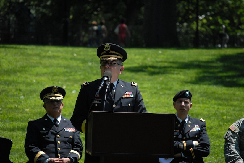 New York City - The U.S. Army Reserve 77th Sustainment Brigade solemnly celebrated 100 years since its founding in a ceremony in Central Park on June 10.  Originally the 77th Infantry Division, the unit stood up in World War I and saw action in the Baccarat, Oise-Aisne, Aisne-Marne, and Meuse-Argonne campaigns.
