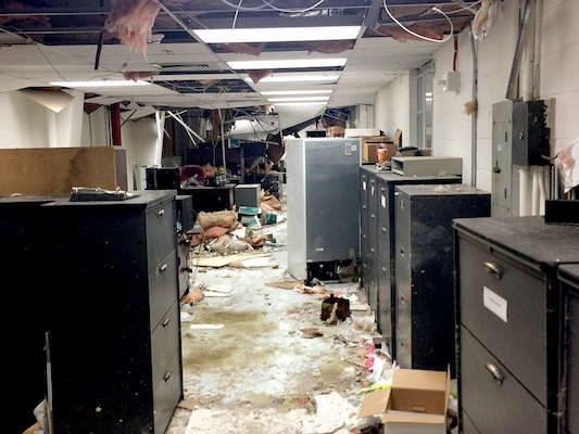 Storm damage to office area at DLA Distribution Albany, Georgia.