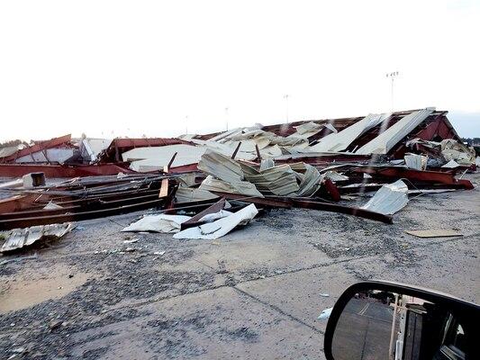 Storm damage to a warehouse on base at DLA Distribution, Albany, Georgia.