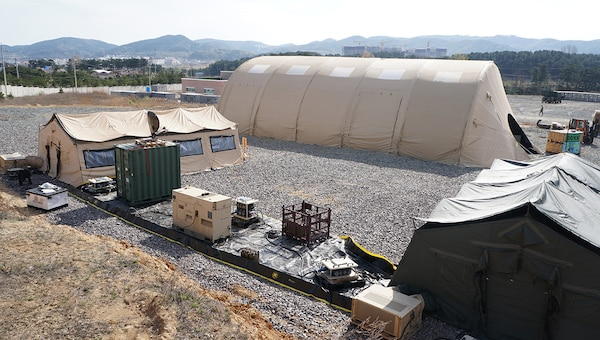 A DLA Distribution Expeditionary deployable warehouse, complete with Distribution Standard System, is ready to support Operation Pacific Reach 2017.