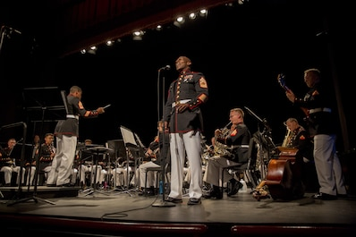 "Marine Corps Band New Orleans performs ""God Bless the U.S.A."" at Hunter College in New York, June 15, 2017. The Marine Corps Band New Orleans traveled to New York to highlight the support New York City leadership and citizens have provided to the Marine Corps Reserves throughout the years. (U.S. Marine Corps photo by Lance Cpl. Niles Lee/Released)"