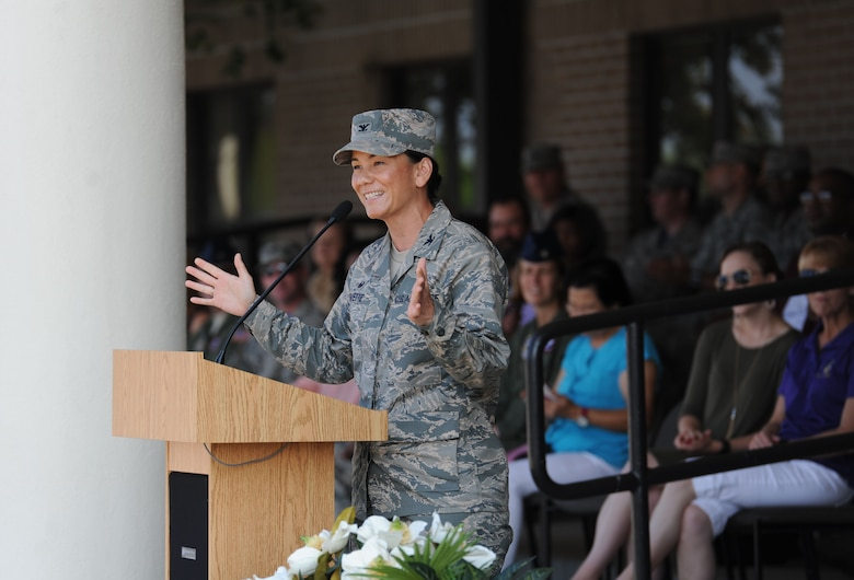 "Col. Debra Lovette, 81st Training Wing commander, delivers remarks during the 81st Training Group drill down at the Levitow Training Support Facility drill pad June 16, 2017, on Keesler Air Force Base, Miss. Airmen from the 81st TRG competed in a quarterly open ranks inspection, regulation drill routine and freestyle drill routine. The 334th TRS ""Gators"" took first place this quarter. (U.S. Air Force photo by Kemberly Groue)"