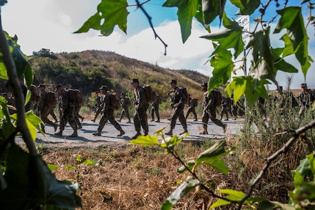 U.S. Marines with Combat Logistics Battalion 5, Combat Logistics Regiment 1, 1st Marine Logistics Group participates in a six mile conditioning hike on Camp Pendleton, Calif., June 16, 2017. The Marines have four conditioning hikes to prepare for Mountain Exercise 4-17 which will be conducted on the Marine Corps Mountain Warfare Training Center in Bridgeport, Calif. (U.S. Marine Corps photo by Lance Cpl. Adam Dublinske)