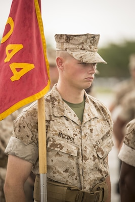 Marine Corps Pfc. Sean G. McCool stands at attention during a final drill evaluation at Marine Corps Recruit Depot Parris Island, S.C., May 31, 2017. Marine Corps photo by Lance Cpl. Joseph Jacob
