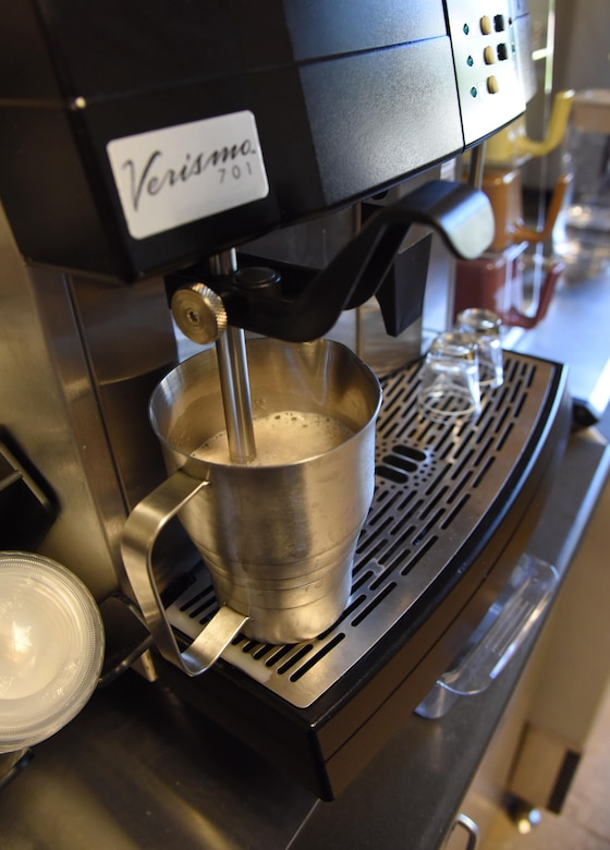 """A gourmet coffee is prepared at """"It Is In The Cup"""" in the Bay Breeze Event Center June 8, 2017, on Keesler Air Force Base, Miss. Keesler's new coffee & smoothie bar will have its grand opening on June 29 at the Bay Breeze Event Center. The facility proudly serves Starbucks coffee, Frappuccino's, iced beverages and espresso as well as Island Oasis smoothies in a variety of flavors. A full menu of items can be found at keesler81fss.us. (U.S. Air Force photo by Kemberly Groue)"""