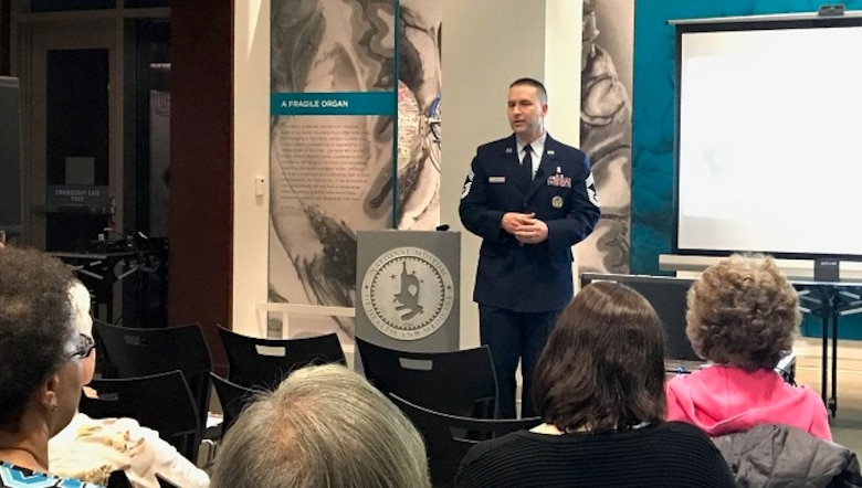 "Chief Master Sergeant David J. Little, Chief, Medical Operations and Research, Office of the Air Force Surgeon General, speaks during the Feb. 2017 Medical Museum Science Café at the National Museum of Health and Medicine, on Tues., Feb. 28, 2017. Little's program was titled ""Air Force Medical Service: Building Competent, Capable Enlisted Airmen."""
