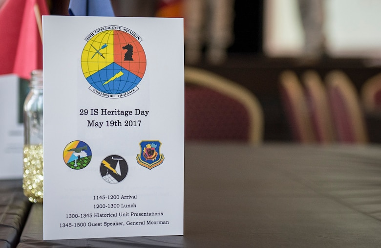 The 29th Intelligence Squadron celebrated their rich history that dates back to World War II during a Heritage Day event, May 19, 2017 at Fort George G. Meade. General Thomas S. Moorman, Jr. Retired, was the guest speaker for the event. During the Heritage Day event, squadron members and Moorman gave briefings on the 11th Photo Technical Unit, the 91st Reconnaissance Technical Squadron and the 432nd RTS. (Courtesy photo)