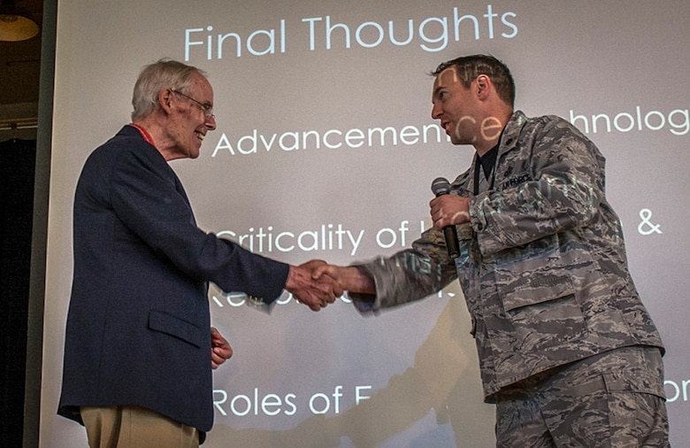 Lt. Col. Robert Vidoloff, 29th Intelligence Squadron commander, thanks General Thomas S. Moorman, Jr. Retired, for speaking during the 29th Intelligence Squadron Heritage Day event, May 19, 2017 at Fort George G. Meade. During his speech, Moorman highlighted his time as an operations officer in the 432nd Reconnaissance Technical Squadron, which is a part of the 29th Intelligence Squadron lineage. (Courtesy photo)