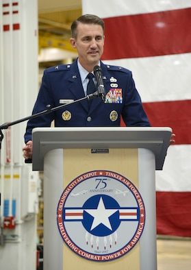 Brig. Gen. Tom Miller gives his remarks as the newest commander of the Oklahoma City Air Logistics Complex June 16. Air Force Sustainment Center Commander Lt. Gen. Lee K. Levy II presided over the change of command ceremony in which Maj. Gen. Mark K. Johnson relinquished command to Miller, who was previously the vice commander of the AFSC. Miller will lead a 9,800 personnel team responsible for $3 billion in revenue. The complex performs programmed depot maintenance on the KC-135, B-1B, B-52, E-3 and Navy E-6 aircraft, as well as maintenance, repair and overhaul of F100, F101, F107, F108, F110, F117, F118, F119, F135, F137 and TF33 engines for the Air Force, Navy and foreign military sales. Miller will also be responsible for the maintenance, repair and overhaul of Air Force and Navy aircraft components and the development and sustainment of a portfolio of mission critical software.