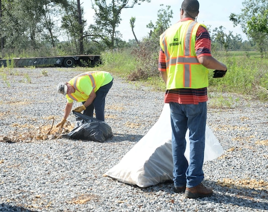 Personnel from the Environmental Branch, Marine Corps Logistics Base Albany, continue Earth Day cleanup efforts aboard the installation, recently. The team organizes weekly meetings to identify areas in need of debris removal. In the five weeks since the staff began the project, there has been roughly 10 tons of trash collected