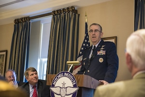 Air Force Gen. John E. Hyten, commander of U.S. Strategic Command, delivers remarks on space, nuclear and missile defense modernization during the Mitchell Institute Space Breakfast Series at the Capitol Hill Club in Washington, June 20, 2017. DoD photo by Petty Officer 2nd Class James P. Bleyle