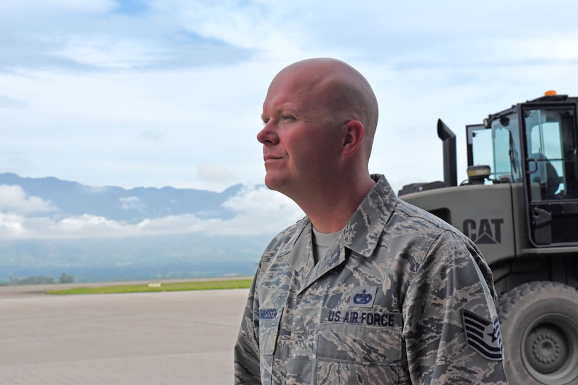 Technical Sgt. Jonathan Rasmussen, small air terminal section chief at Joint Task Force-Bravo, prepares to load cargo at Soto Cano Air Base, June 13, 2017. His call to duty includes supporting a weekly rotating mission in which a C130 aircraft brings in supplies such as food and medication from Charleston Air Force Base. These supplies go to the dining facility and other entities at JTF-Bravo to ensure that all service members' needs are covered.