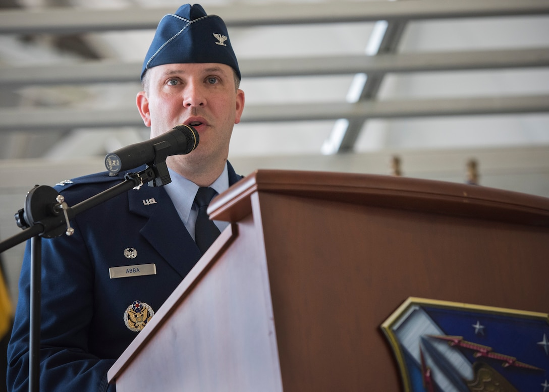 Col. David Abba, 53rd Wing commander, gives his first speech to members of the wing during a change of command ceremony June 20 at Eglin Air Force Base, Fla.  Abba is a command pilot with more than 1,700 hours in the T-38A, F-15C, F-22A, E-3B/C, C-12F, C-17A. Abba assumed command of the 53rd Wing from Col. Adrian Spain. (U.S. Force photo/Ilka Cole)