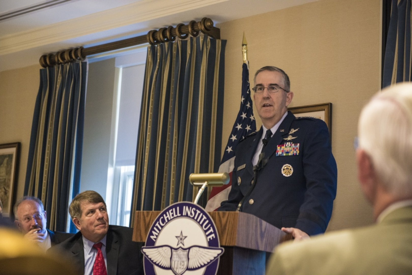 U.S. Air Force Gen. John Hyten, commander of U.S. Strategic Command (USSTRATCOM), delivers a speech at the Mitchell Institute for Aerospace Studies Strategic Deterrence Breakfast Series event at the Capitol Hill Club in Washington, D.C., June 20, 2017. In his remarks, Hyten discussed the need for space, nuclear and missile defense modernization. The Mitchell Institute for Aerospace Studies is an independent, nonpartisan policy research institute that provides creative, insightful policy options to better empower the nation's leaders. One of nine Department of Defense unified combatant commands, USSTRATCOM has global strategic missions assigned through the Unified Command Plan that include strategic deterrence, space operations, cyberspace operations, joint electronic warfare, global strike, missile defense, intelligence, and analysis and targeting.