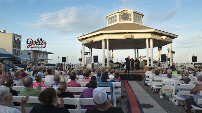 Max Impact, the premier rock band of the U.S. Air Force, performs a concert June 17, 2017, at the Rehoboth Beach Bandstand, in Rehoboth Beach, Del. Max Impact performed as part of the Bandstand's Summer Concert Series. (U.S. Air Force photo by Senior Airman Zachary Cacicia)
