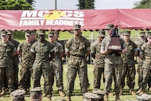 U.S. Marine Corps Sgt. Tyler Cooper, U.S. Marine Corps Sgt. Tyler Cooper, with Truck Company, Headquarters Battalion, 3d Marine Division, is awarded the drill trophy for his platoon during a drill competition at the Courtney Bowl on Camp Courtney, Okinawa, Japan, March 31, 2017. Headquarters Company, Truck Company, and Communications Company engaged in a competition against each other for a drill trophy and to aid in preparation for an upcoming commanding general inspection.  (U.S. Marine Corps photo by MCIPAC Combat Camera Lance Cpl.  Jesus McCloud)