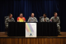 The Incirlik Lesbian, Gay, Bisexual and Transgender committee participate in a lunch and learn panel as part of LGBT Pride Month June 16, 2017, at Incirlik Air Base, Turkey. The panel featured five Airmen who answered questions pertaining to LGBT service members. (U.S. Air Force photo by Airman 1st Class Kristan Campbell)