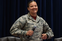 U.S. Air Force Staff Sgt. Amber Swearengin, 39th Air Base Wing Commander Support Staff NCO in charge, discusses topics relating to lesbian, gay, bisexual and transgender service members June 16, 2017, at Incirlik Air Base, Turkey. Swearengin participated in an LGBT Luncheon and shared her experiences on various topics, including her time in service before and after the Don't Ask, Don't Tell policy. (U.S. Air Force photo by Airman 1st Class Kristan Campbell)