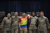 The Incirlik Lesbian, Gay, Bisexual and Transgender committee gather for a photo June 16, 2017, at Incirlik Air Base, Turkey. The committee hosted an LGBT lunch and Learn panel in which Airmen answered questions from their experiences as LGBT Airmen. (U.S. Air Force photo by Airman 1st Class Kristan Campbell)