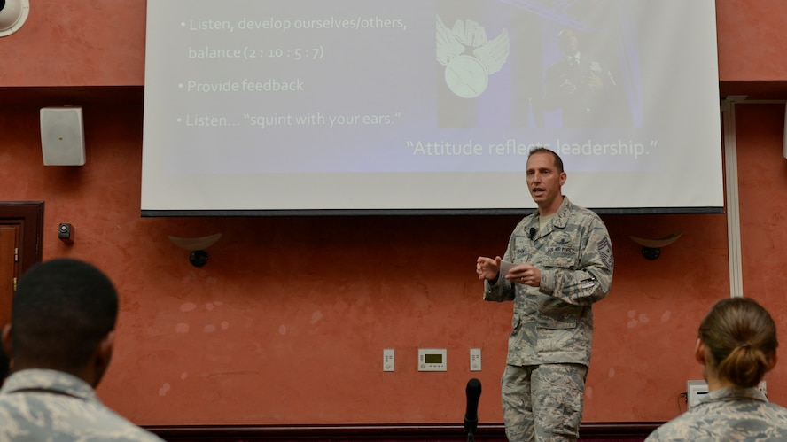 Chief Master Sgt. Matthew Lusson, 31st Fighter Wing command chief, shares Chief Master Sgt. of the Air Force Kaleth Wright's focus areas with Aviano Airmen during an enlisted call, June 14, 2017, at Aviano Air Base, Italy. Lusson emphasized Wright's words on resiliency and empowerment. (U.S. Air Force photo by Senior Airman Cary Smith)