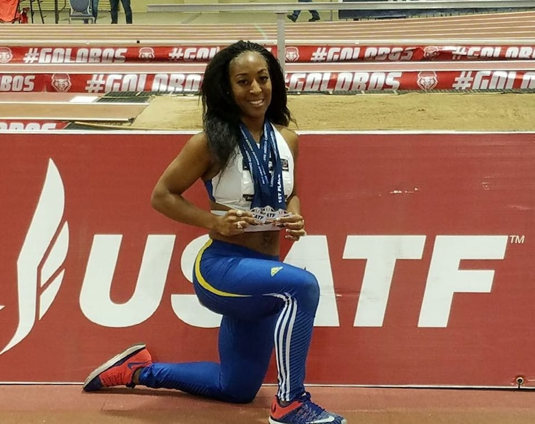 MSgt LaTisha Moulds is schedule to compete in the Air Command Track and Field Championships June 16-23 at Ramstein Air Base, Germany. Although not stationed in Europe, she was selected to participate as a member of the United States Air Forces in Europe track and field team.
