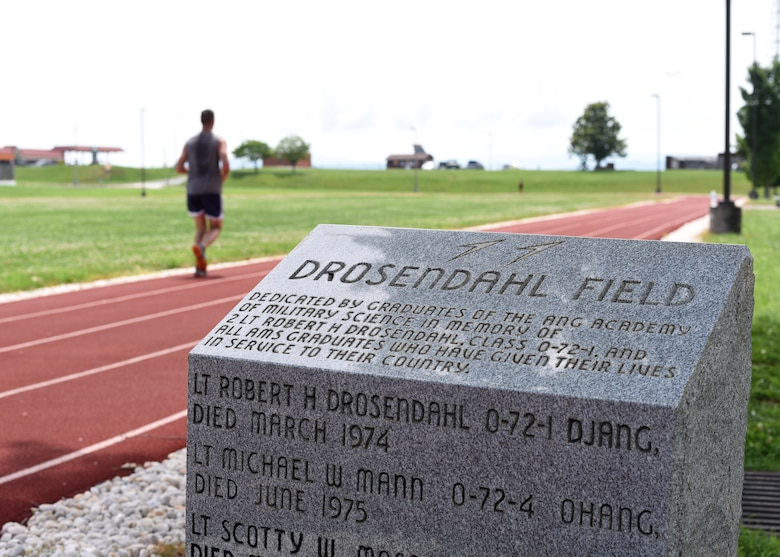 The Drosendahl Memorial stone, recently relocated on the running track at the Air National Guard's I.G. Brown Training and Education Center in East Tennessee, was dedicated by graduates of the Academy of Military Science in memory of Air Force 2nd Lt. Robert H. Drosendahl, a 1972 AMS graduate and a New Jersey Air National Guard officer who died in service to the nation.  Other AMS officers inscribed include Airmen from Ohio, New Mexico, South Carolina, and Kansas. (U.S. Air National Guard photo by Master Sgt. Mike R. Smith)