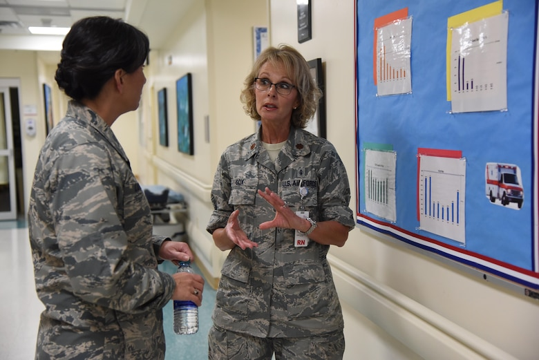 Maj. Diane Cox, 81st Medical Operations Squadron clinical registered nurse, briefs Col. Debra Lovette, 81st Training Wing commander, on emergency room capabilities and procedures during an 81st Medical Group orientation tour in the Keesler Medical Center June 16, 2017, on Keesler Air Force Base, Miss. The purpose of the tour was to familiarize Lovette with the group's mission, operations and personnel. (U.S. Air Force photo by Kemberly Groue)