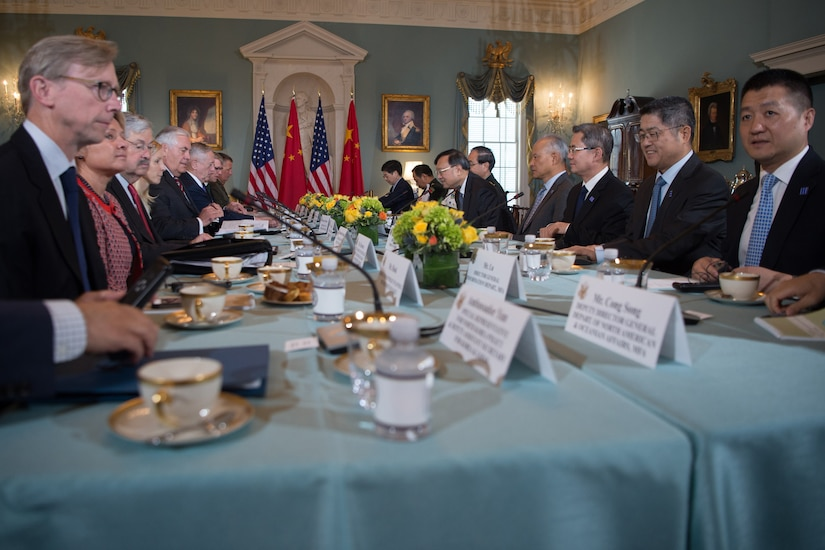Secretary of State Rex Tillerson and Defense Secretary Jim Mattis host Chinese State Councilor Yang Jiechi and Gen. Fang Fenghui, chief of the Chinese joint staff department, along with members of the U.S. delegation and their Chinese colleagues during a U.S.–China diplomatic and security dialog at the U.S. State Department, Washington, D.C., June 21, 2017. DoD photo by Army Sgt. Amber I. Smith