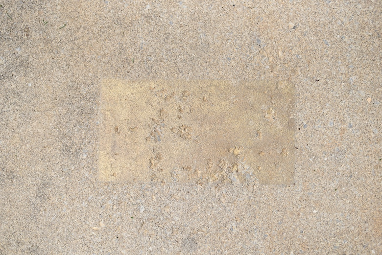 Faded gold-painted bars and purple letters were sidewalk markers that the Air National Guard's Academy of Military Science officer candidates once used for daily formations at the I.G. Brown Training and Education Center in East Tennessee. AMS commissioned more than 14,600 officers in the six-week program between 1971 and 2009 before moving to Maxwell Air Force Base in Alabama. (U.S. Air National Guard photo by Master Sgt. Mike R. Smith)