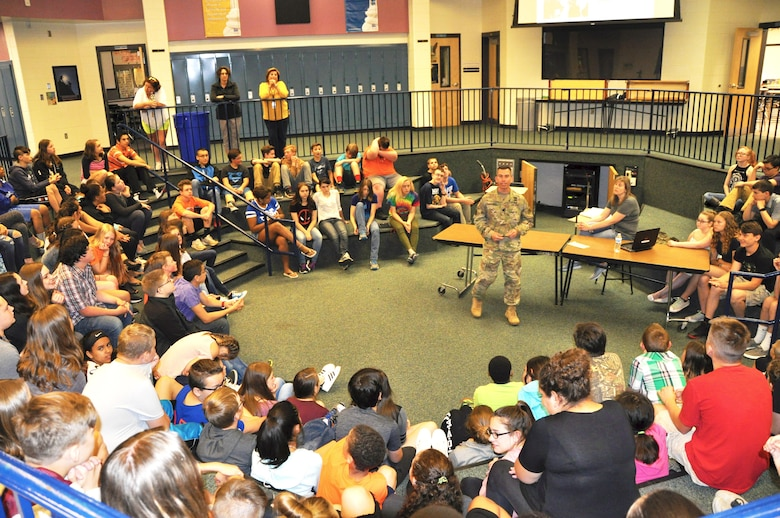 U.S. Army Corps of Engineers, Buffalo District Commander Lt. Col. Adam Czekanski speaks to students at Silver Creek Central School on June 9, 2017. Photo by Dr. Michael Izard-Carroll