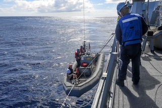 Sailors lower a rigid-hull inflatable boat during a search and rescue drill aboard the guided missile destroyer USS Wayne E. Meyer in the Western Pacific Ocean, June 11, 2017. Navy photo by Petty Officer 3rd Class Kelsey L. Adams