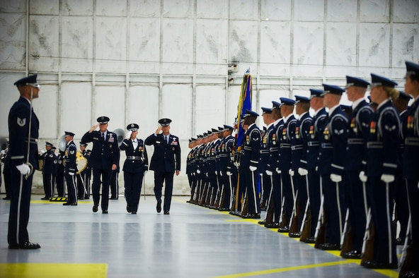 Maj. Gen. Darryl Burke and Maj. Gen. James Jacobson inspect the troops during the Air Force District of Washington Change of Command ceremony on Joint Base Andrews, Md. June 20, 2017. Air Force Vice Chief of Staff Gen. Stephen Wilson presided over the ceremony where Burke relinquished command to Jacobson.  (Photo by Senior Master Sgt. Adrian Cadiz)(Released)