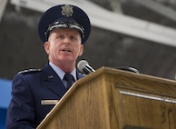Air Force Vice Chief of Staff Gen. Stephen Wilson gives his remarks during the retirement ceremony for Maj. Gen. Darryl Burke on Joint Base Andrews, Md. June 20, 2017. Wilson concurrently presided over the Air Force District of Washington Change of Command where Burke relinquished command to Maj. Gen. James Jacobson. (U.S. Air Force photo/Jim Varhegyi)(released)