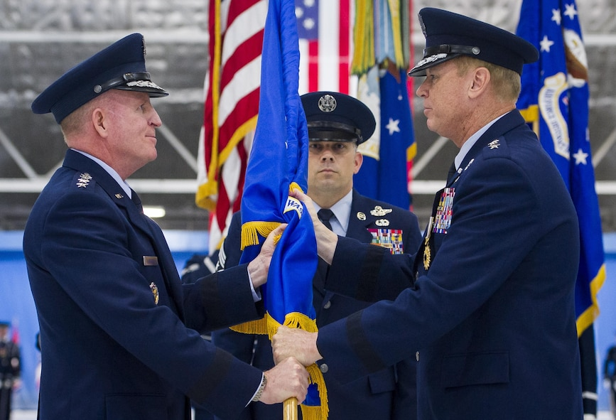Maj. Gen. Darryl Burke (right) relinquishes  command of the Air Force District of Washington during a ceremony on Joint Base Andrews, Md. June 20, 2017. Air Force Vice Chief of Staff Gen. Stephen Wilson (left) presided over the ceremony where Burke relinquished command to Maj. Gen. James Jacobson. (U.S. Air Force photo/Jim Varhegyi)(released)