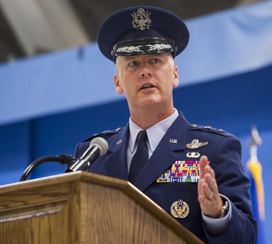 Maj. Gen. James Jacobson gives his remarks after assuming  command of the Air Force District of Washington during a ceremony on Joint Base Andrews, Md. June 20, 2017. Air Force Vice Chief of Staff Gen. Stephen Wilson presided over the ceremony where Maj. Gen. Darryl Burke relinquished command to Jacobson.(U.S. Air Force photo/Jim Varhegyi)(released)